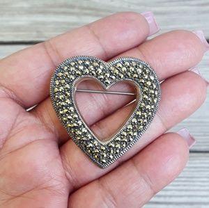 Vtg Sterling Paved Marcasite Heart Brooch